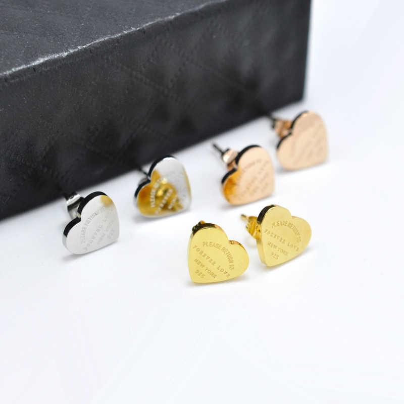 FYSARA 361L Stainless Steel Rose Gold Color Forever Love Heart Earrings For Women Luxury Fine Stud Earrings Brand Female Jewelry