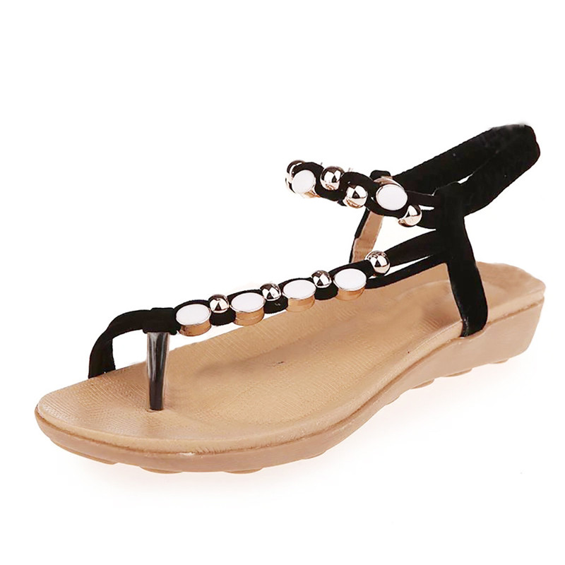 Women sandals Flat Shoes Beaded Bohemia Leisure Sandals Peep-Toe Summer Beach Shoes sandalias mujer chaussures femme ete 2017 zapatos mujer black red summer sweet bowtie flat sandals slip toe beach sandals butterfly knot flat sandals shoes plus size 44