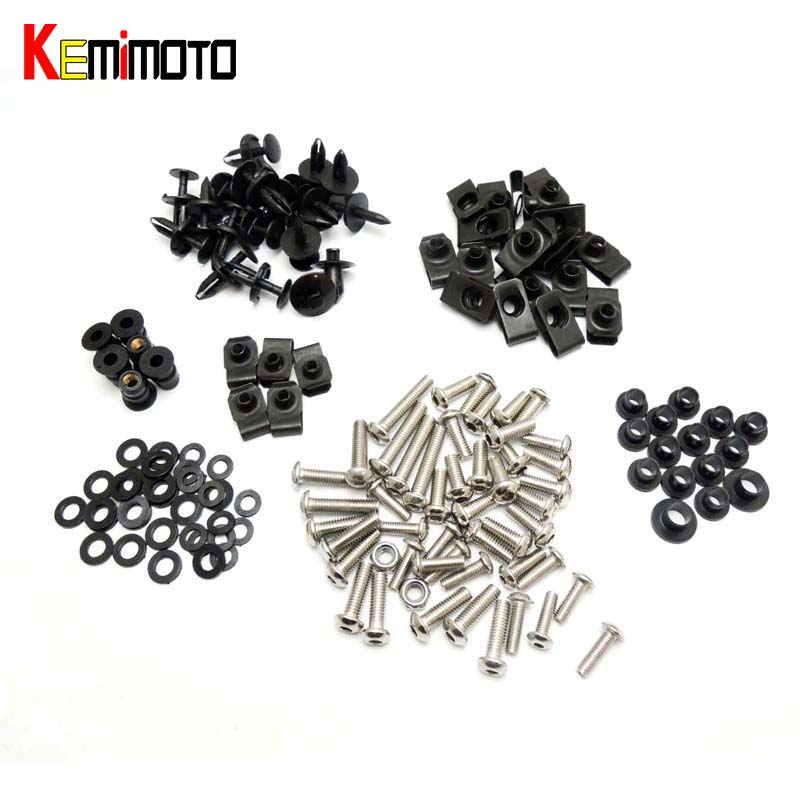 KEMiMOTO R1 Motorcycle Fairing Bolt Screw Nuts Washers Fastener Fixation for Yamaha YZF R1 2004 2005 2006 Complete Kit