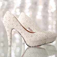 Imitation Pearl Rhinestone Wedding Shoes White High Heel Bridal Dress Shoes Platform Lady Single Shoes Gorgeous Lady Single Shoe