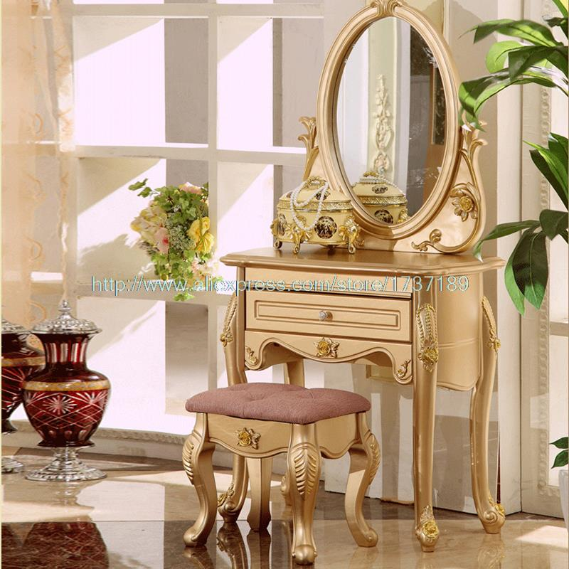 Elegant Furniture: French Champagne Gold Vanity Simple Lines And Elegant