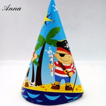 6pcs /bag Pirate Caps Theme Party Kids/Boys Happy Birthday Decoration Supplies