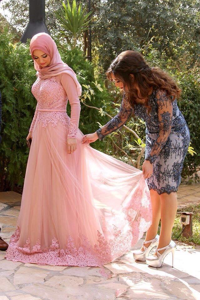 Longues De Incroyable Longue Robe Arabe Manches Dubaï Rose A Tulle Bal Formelle Soirée Same Applique Pic As ligne À Jewel Dentelle Musulman AZIxBqY
