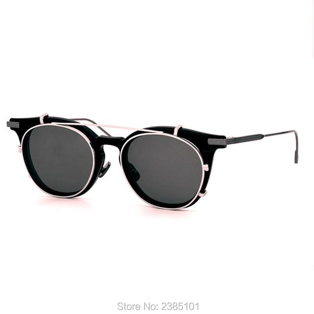 07790aeee1 2019 Vintage Round Style Polarized Sunglasses Clip On Lens men Removable  Brand Designer Prescription Eye Glasses Oculos De Sol