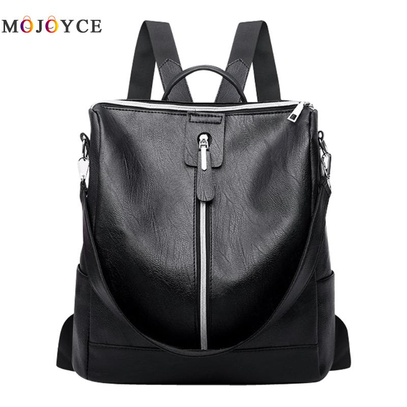 PU Leather Back Pack Simple Zipper Student Bagpack For Teenagers Girls Female Travel Women Backpacks