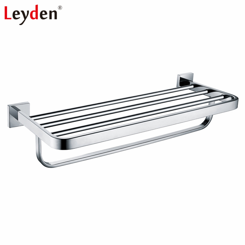 Leyden Stainless Steel Polished Chrome Towel Hanger Towel Rack Single Layer Towel Holder with Bar Wall Mounted Bathroom Hardware free shipping polished chrome bathroom towel rack holder wall mounted swivel towel bar hanger