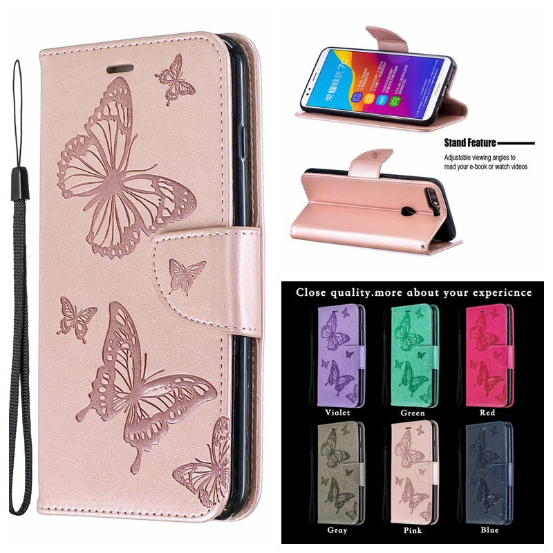 <font><b>7A</b></font> Case on For Huawei Y5 Prime 2018 Case <font><b>3D</b></font> Butterfly For Coque Huawei <font><b>Honor</b></font> <font><b>7A</b></font> <font><b>DUA</b></font>-<font><b>L22</b></font> Wallet Flip Cover Leather Phone Cases image