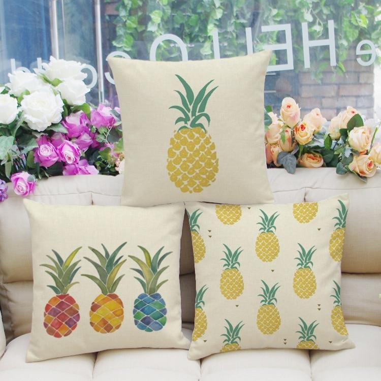 Nieuwe fruit serie kussensloop ananas patroon stoel kussen zachte - Thuis textiel