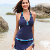 9b6f3b349a SHEKINI Women Swimwear Built-in Shorts Backless Lace up Swim Top Retro  Swimdress Two Piece