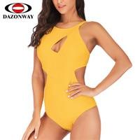 DAZONWAY 2019 New Solid Stitching Swimsuit Women Conservative Slim One piece Swimwear Female Sexy Siamese Swimming Pool Swimsuit