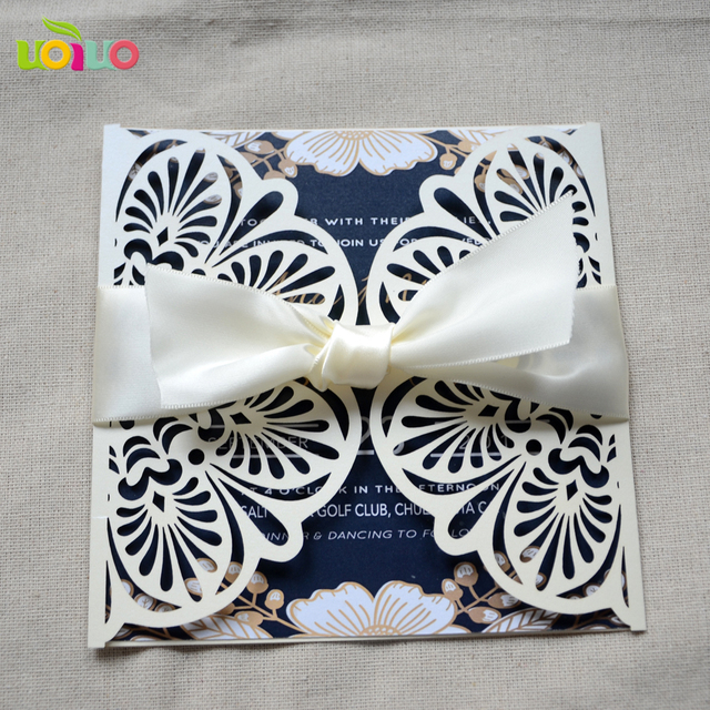 50sets With Envelop Fantastic Laser Cut Lace Wedding Invitation Card