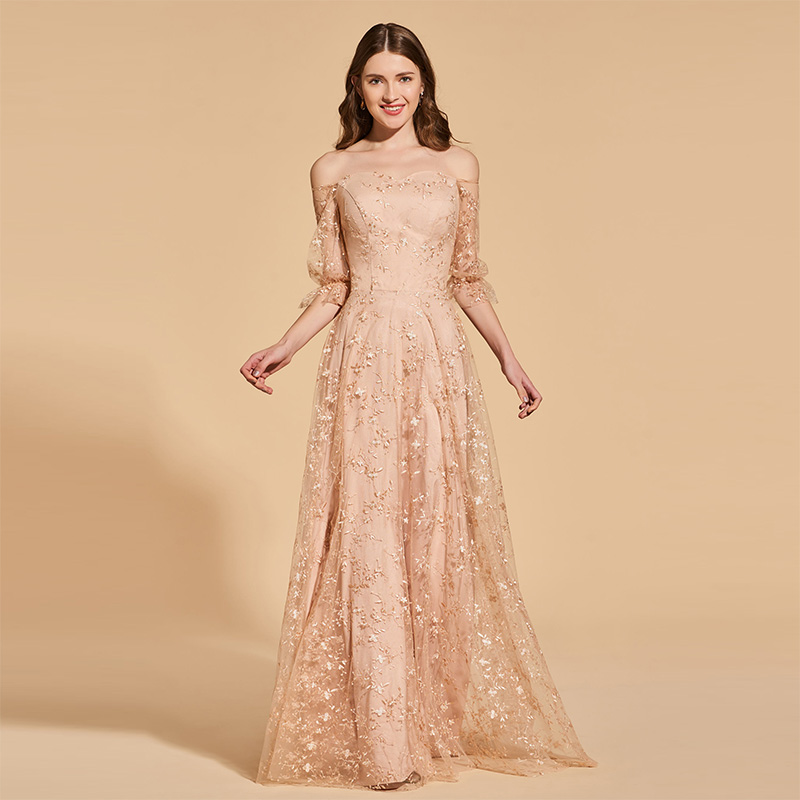 Tanpell off the shoulder prom dresses pink lace floor length a line gown women empire evening