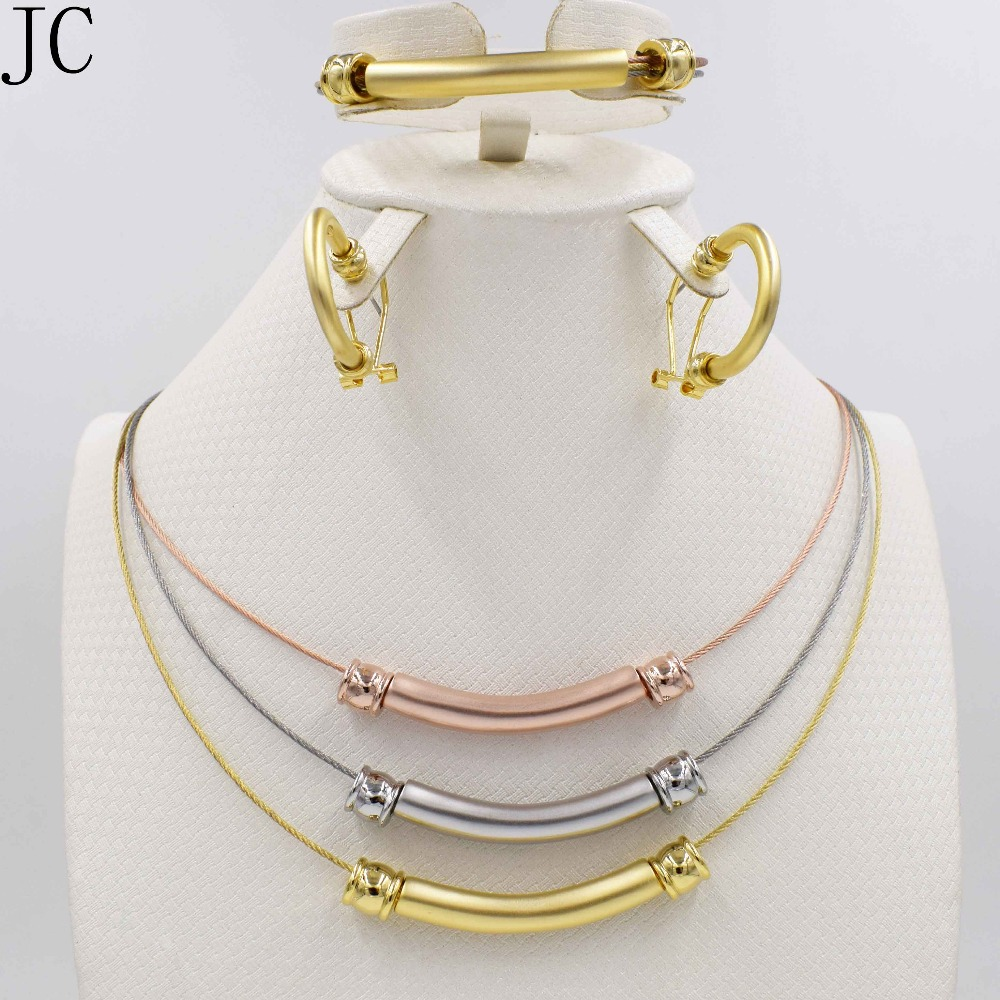 New High Fashion Dubai Jewelry Set Rose/Silver/18K Gold Plated Nigerian Wedding African Beads Jewelry Sets Parure Bijoux Femme