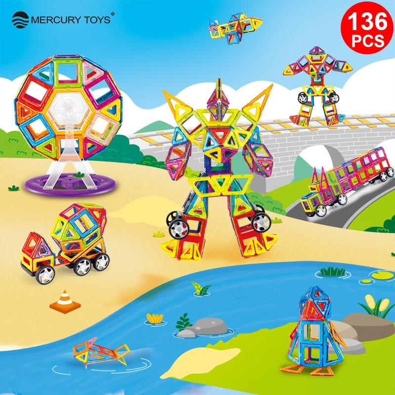 купить 136PCS Standard Size Magnetic Blocks 3D Model Building Bricks Children Educational Toys Engineering vehicle Big Size онлайн