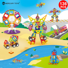 136PCS Standard Size Magnetic Blocks 3D Model Building Bricks Children Educational Toys Engineering vehicle Big Size