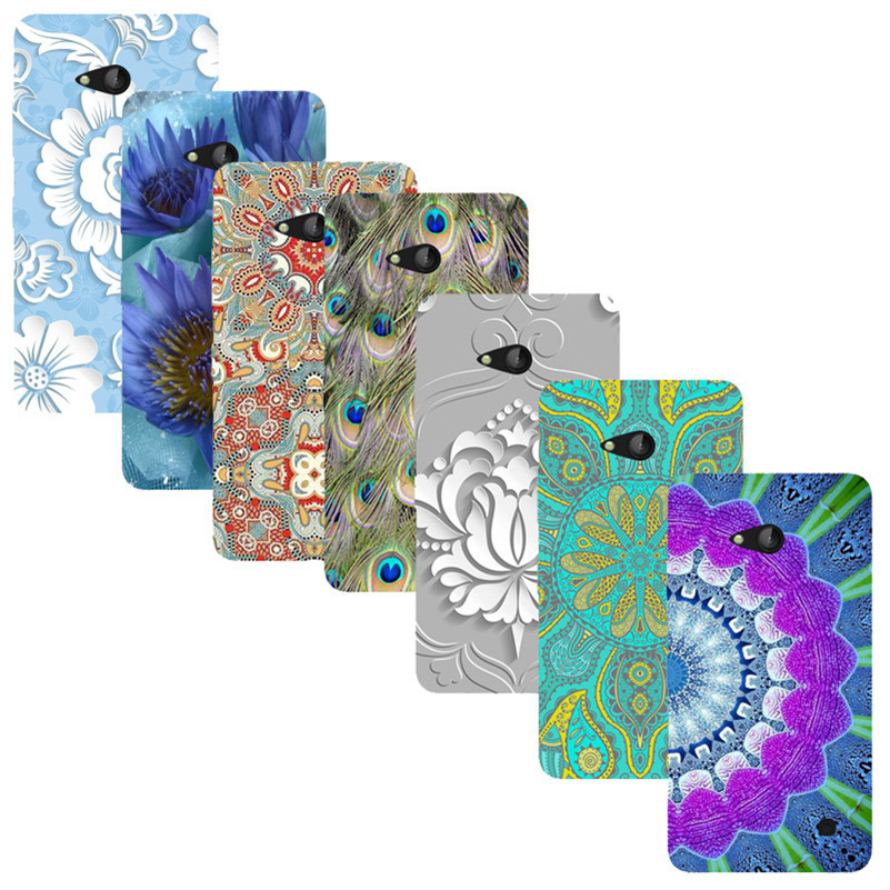 For Nokia Lumia 730 735 Printed Case Luxury Hard Plastic Drawing Phone Shell For Nokia Lumia 735 730 Flower Back Cover