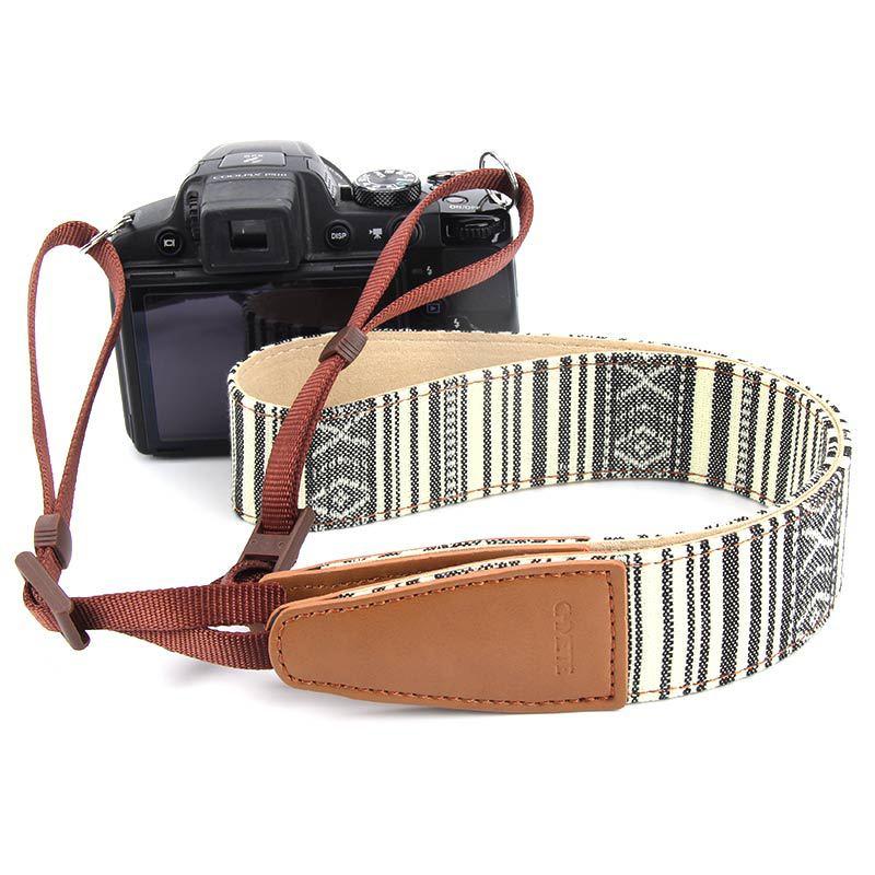 Retro Off White Camera Strap Camera Shoulder Strap Multi-color DSLR Digital Adjustable Camera Neck Straps Pattern Camera Straps
