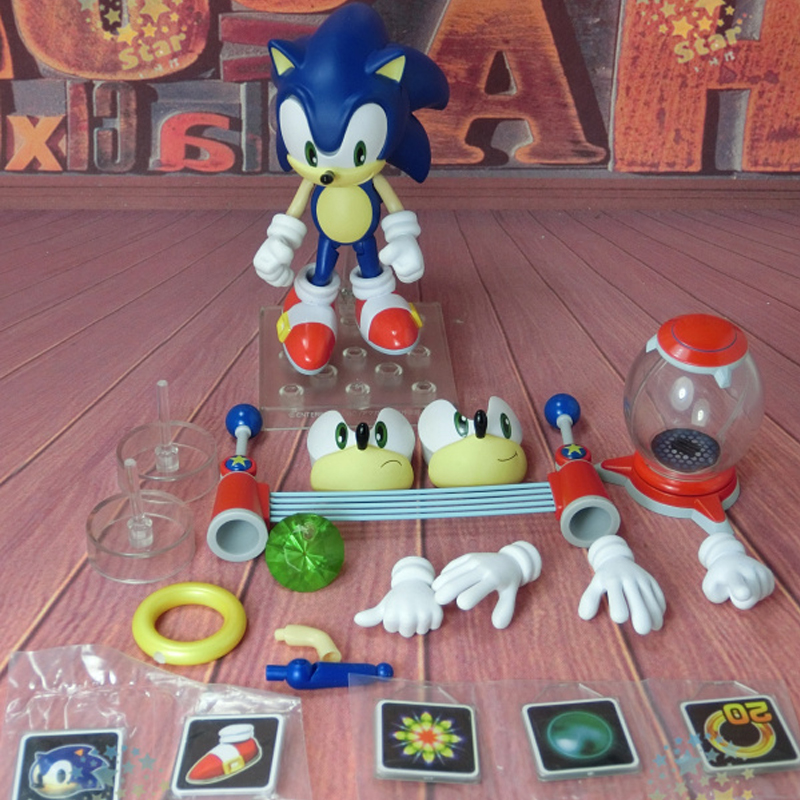 Game Sonic the Hedgehog Nendoroid 214 Cute Action Figures PVC Doll Collection Model Toys Gifts high quality the avengers cute nendoroid batman 20cm pvc action figure model toys gifts