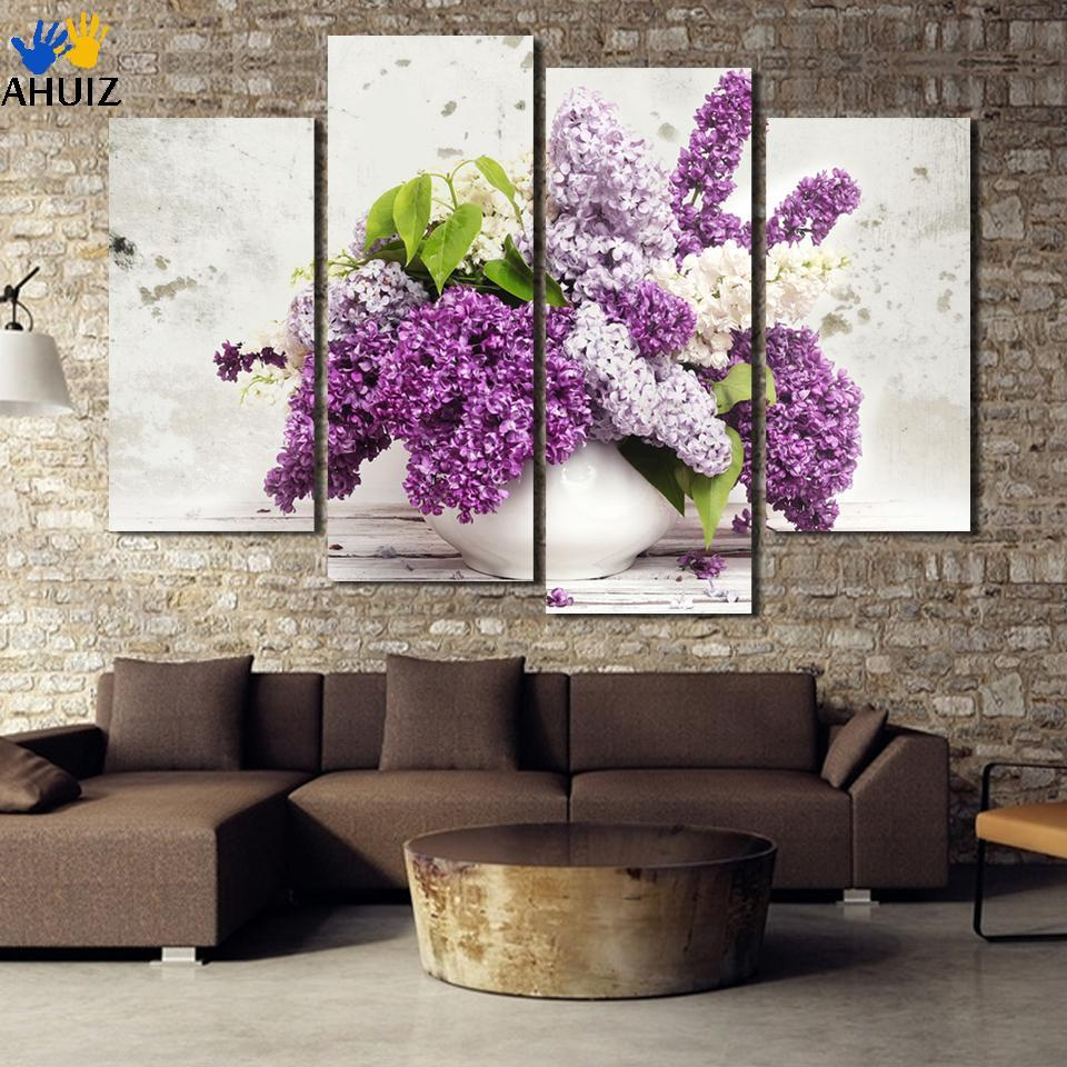 Buy promotion 4 pcs hot sales hd large lilac flower canvas painting beautiful - Latest beautiful wall decoration ...