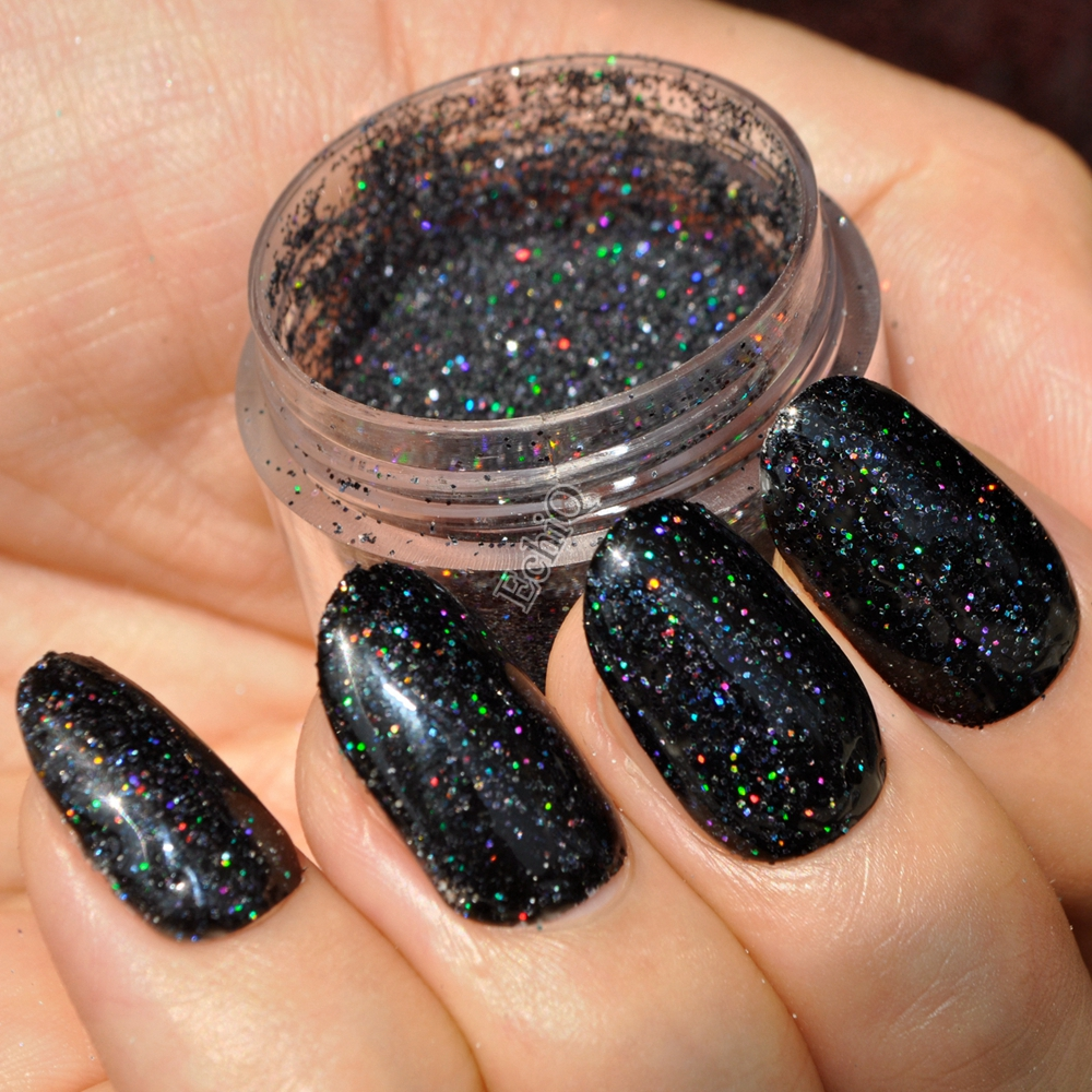 Holographic Laser Black Nail Art Glitter Colorful Shiny Under Light ...