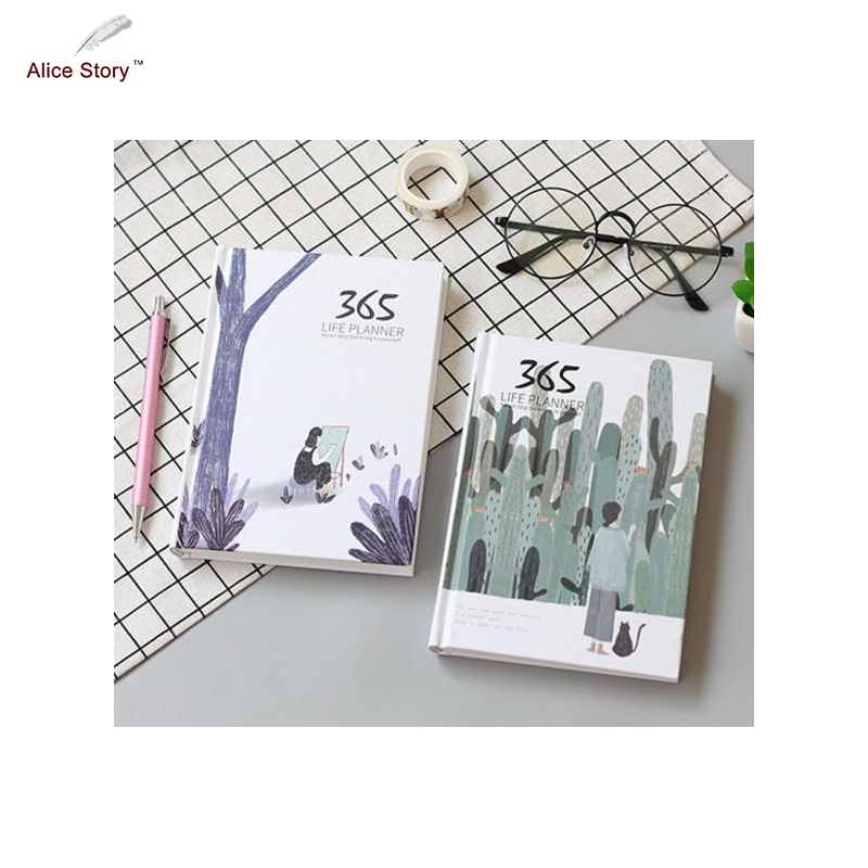 Alice Story 365 Days Notebook Journal Diary Planner Notepad for Kids Gift Korean Stationery Office School Supplies Hot Sale high quality pu cover a5 notebook journal buckle loose leaf planner diary business buckle notebook business office school gift