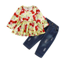 Toddler Kid Baby Girl Clothes Flower Tops+Denim Pants 2PCS Outfits Set Autumn цена и фото