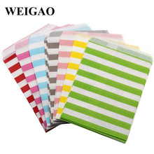 WEIGAO 25pcs Colorful Stripe Paper Bag Candy Box Baby Shower Birthday Party Decor Snack Food Cookie Package Bag Wedding Supplies