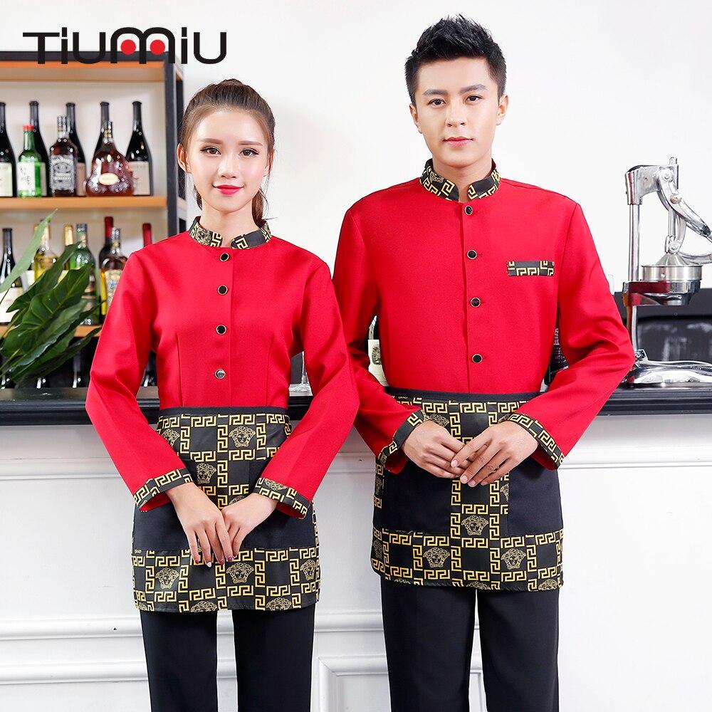 Retro Pattern Print Tops Jacket Patchwork Chinese Restaurant Hot Pot Shop Waitress Waiter Uniform Food Service LongSleeve Jacket