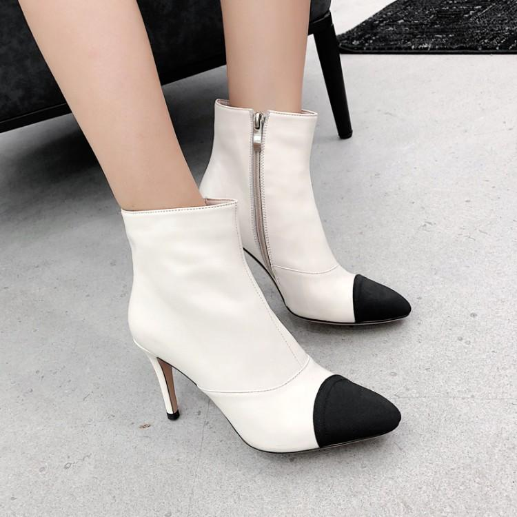 Black White Women Boots Side Zipper Zapatos Mujer Chic Brand Women Mid-calf Boots Short Booties Women Stiletto Leather Shoes chic mid waist button design ripped denim shorts for women