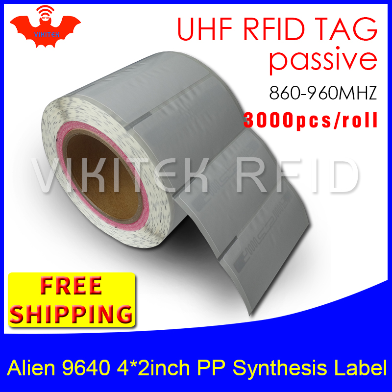 UHF RFID tag sticker Alien 9640 EPC 6C PP synthetic label 860-960MHZ Higgs3 3000pcs free shipping adhesive passive RFID label rfid tire patch tag label long range surface adhesive paste rubber alien h3 uhf tire tag for vehicle access control
