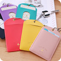 2017 New Ladies Card Holder Set Lovely Solid Cardsclip Key Buckle Korean Mini Business Cards Case Pouch