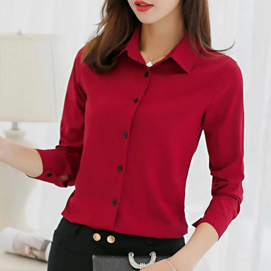 4b377290f63 Офисная блузка Для женщин Летние шифоновые блузки рубашки девочек  Повседневное нарядная блузка с длинным рукавом женский