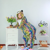 Colorful Leopard Spotted Panther Pajamas Animal Winter Warm Hooded Sleepwear Women Onesies Adult Party Dress Halloween