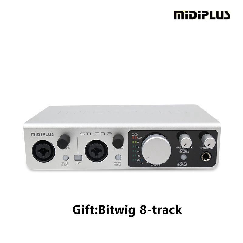 MIDIPLUS Studio2 high precision 2in2out USB audio interface sound card for Guitar recording playback electric guitar interface link audio usb cable adapter audio effects regulator for windows xp recording guitar accessories