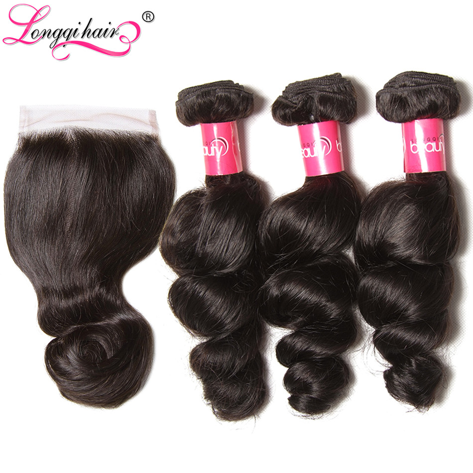 Longqi Hair Brazilian Loose Wave Bundles With Closure 4x4 Free Part 100 Remy Human Hair Weave