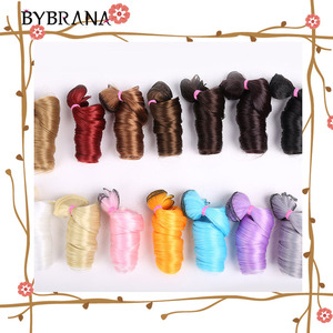 Bybrana curly Black Brown Silver Multicolor Color 15*100cm 30*100cm hair SD BJD wigs for dolls DIY Free shipping(China)