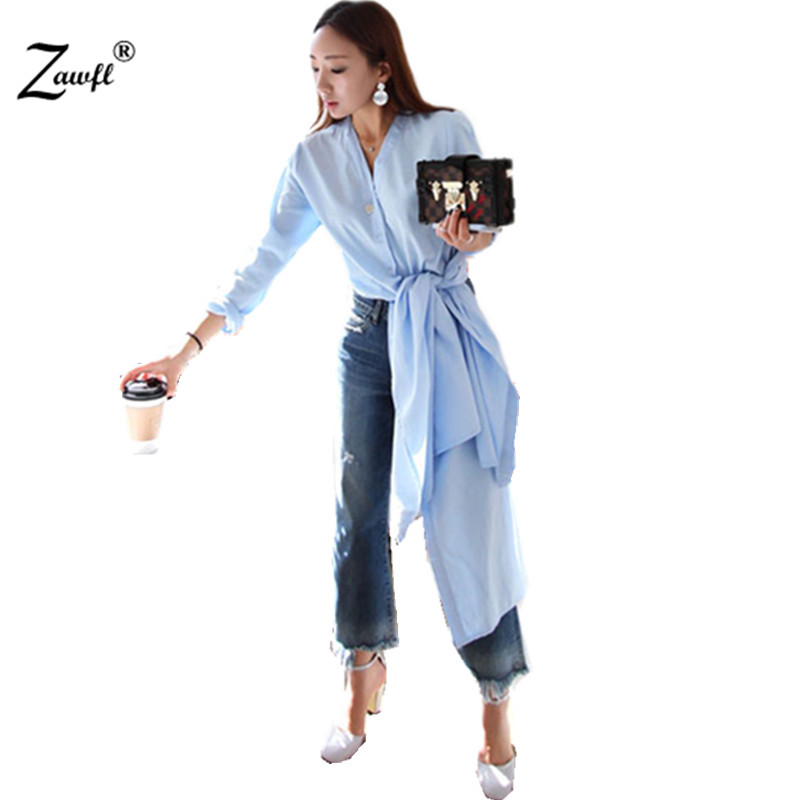ZAWFL Spring Women's V Neck Side Splited Long Shirts Female Sky Blue Simple Tops Casual Bowknot Clothes Korean Fashion