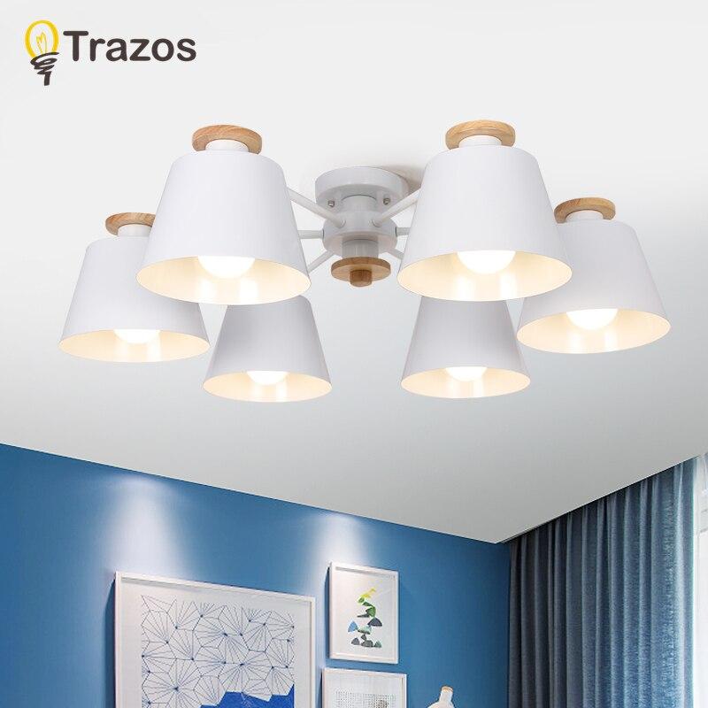 TRAZOS Colorful Chandelier Lighting For Living Room LED Lustre Wooden Hanging Light Ceiling Chandeliers Modern Kitchen Lights