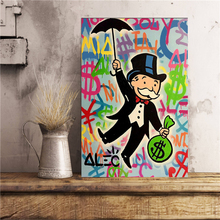 Alec Monopolies Riding Money Pop Art Canvas Painting Print Bedroom Home Decoration Modern Wall Oil Poster Pictures
