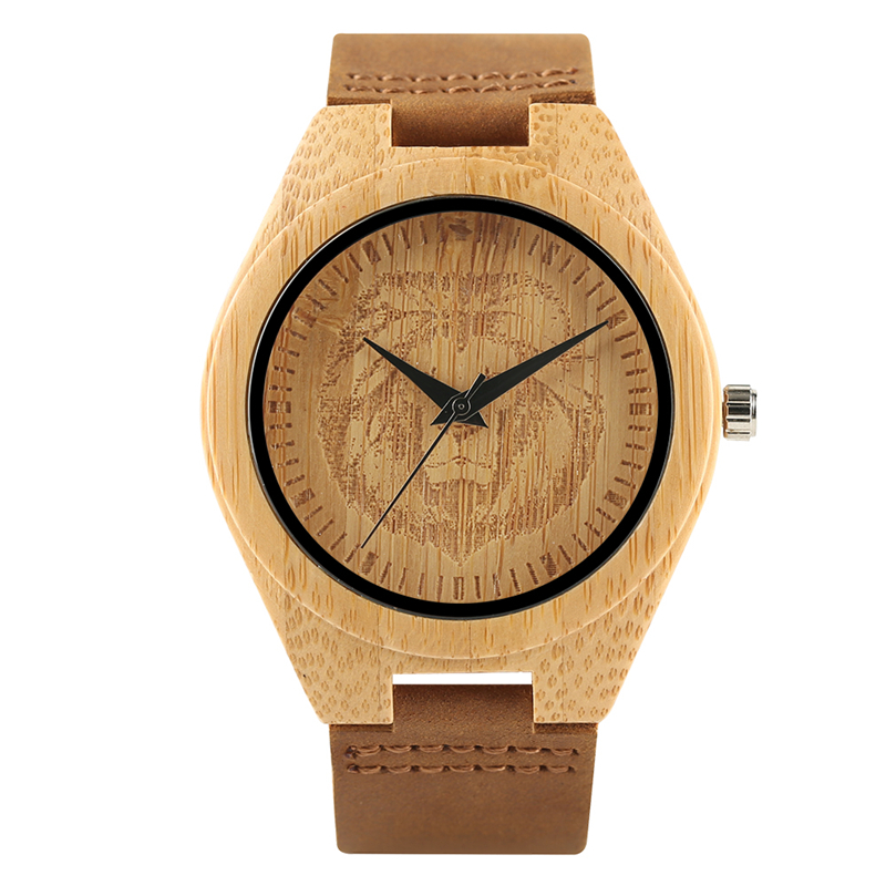 Awesome Lion Head Symbol Bamboo Watch Men Women Wooden Wristwatch Lionhearted Woodcraft Handmade Gifts for Friends Birthday