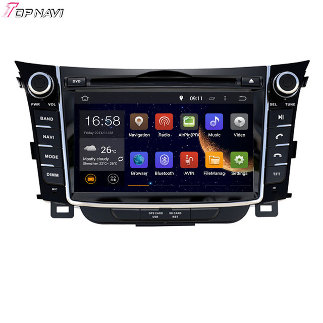 7'' Quad Core Android 5.1 Car GPS For Hyundai i30 2012-  With Video Radio Stereo Multimedia Mirror Link 16GB Flash Free Shipping