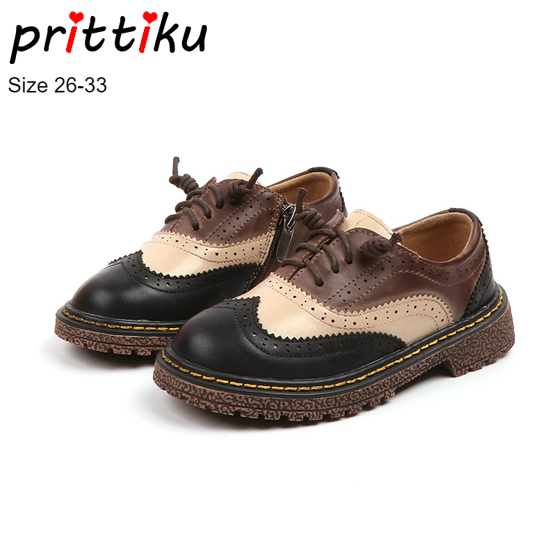 Autumn 2018 Boys Girls British Style Retro School Uniform Oxfords Children PU Leather Zip Casual Dress Shoes Toddler/Little Kid british style men real leather brouge shoes boys new spring zip retro casual shoes craved wing tips flat man oxfords