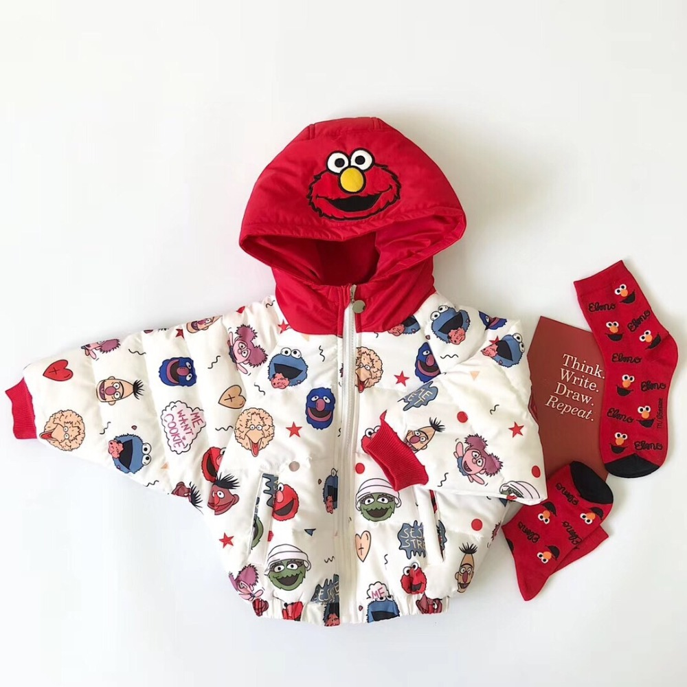 Celveroso nouvelles filles garçons vestes mode dessin animé vêtements manteau bébé fille hiver chaud vêtements d'extérieur décontractés sésame rue enfants vestes