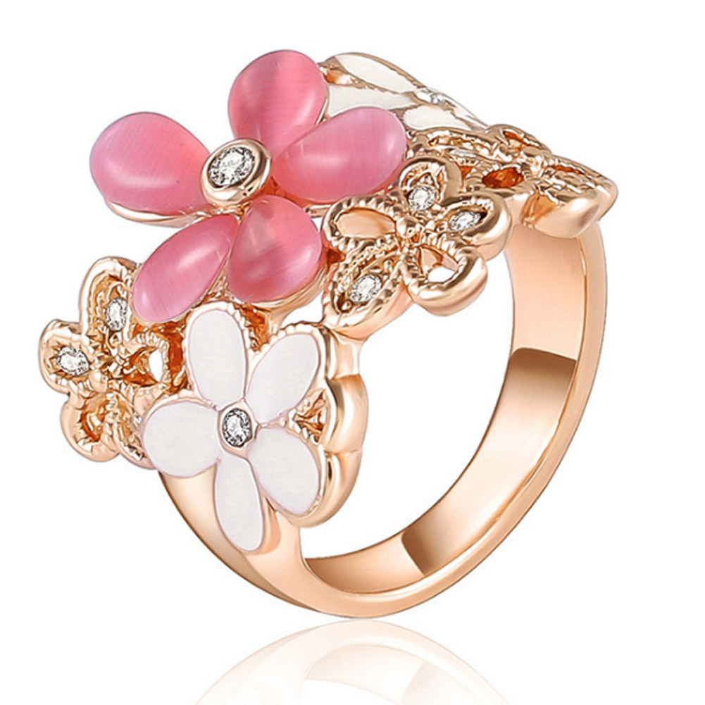 Rose gold color Imitation Pearl Fashion Flower Rings for Women Jewelry Lady Ring Floral Valentines Day Jewellery