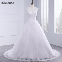 Real Picture A line Sleeveless vestido de noiva Lace Wedding Dress Zipper O-neck Back Court Train With Bow Sash Robe de Mariage