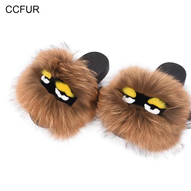 73dd980a5a2b 2019 New Women Real Fox Fur Monster Slipper Lovely Raccoon Fur Sliders Soft  Warm Fluffy Slide S6026