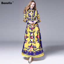 Banulin Fashion Autumn Runway Long Sleeve Dress Womens Floral Printed Ruffles Bow Tie Pleated robe ete 2019 femme