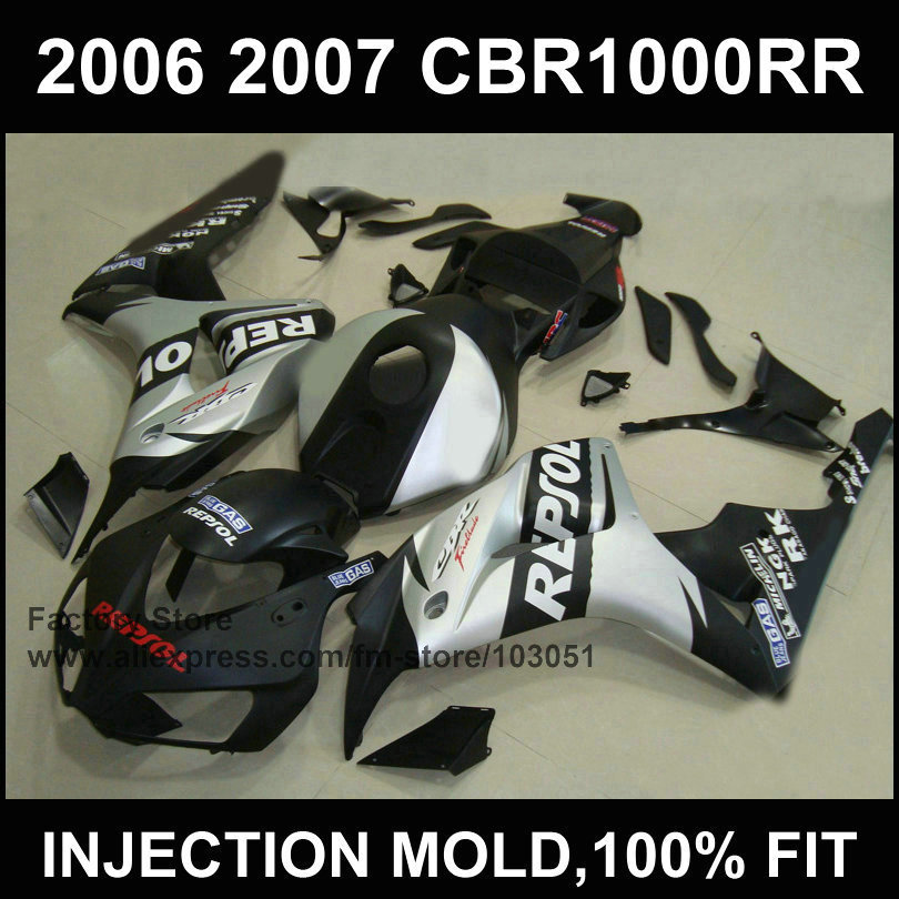 100% injection mold Motorcycle Fairings parts for HONDA 06 07 CBR 1000RR 2006 2007 CBR1000RRfireblade silver repsol fairing kits injection mold fairing for honda cbr1000rr cbr 1000 rr 2006 2007 cbr 1000rr 06 07 motorcycle fairings kit bodywork black paint