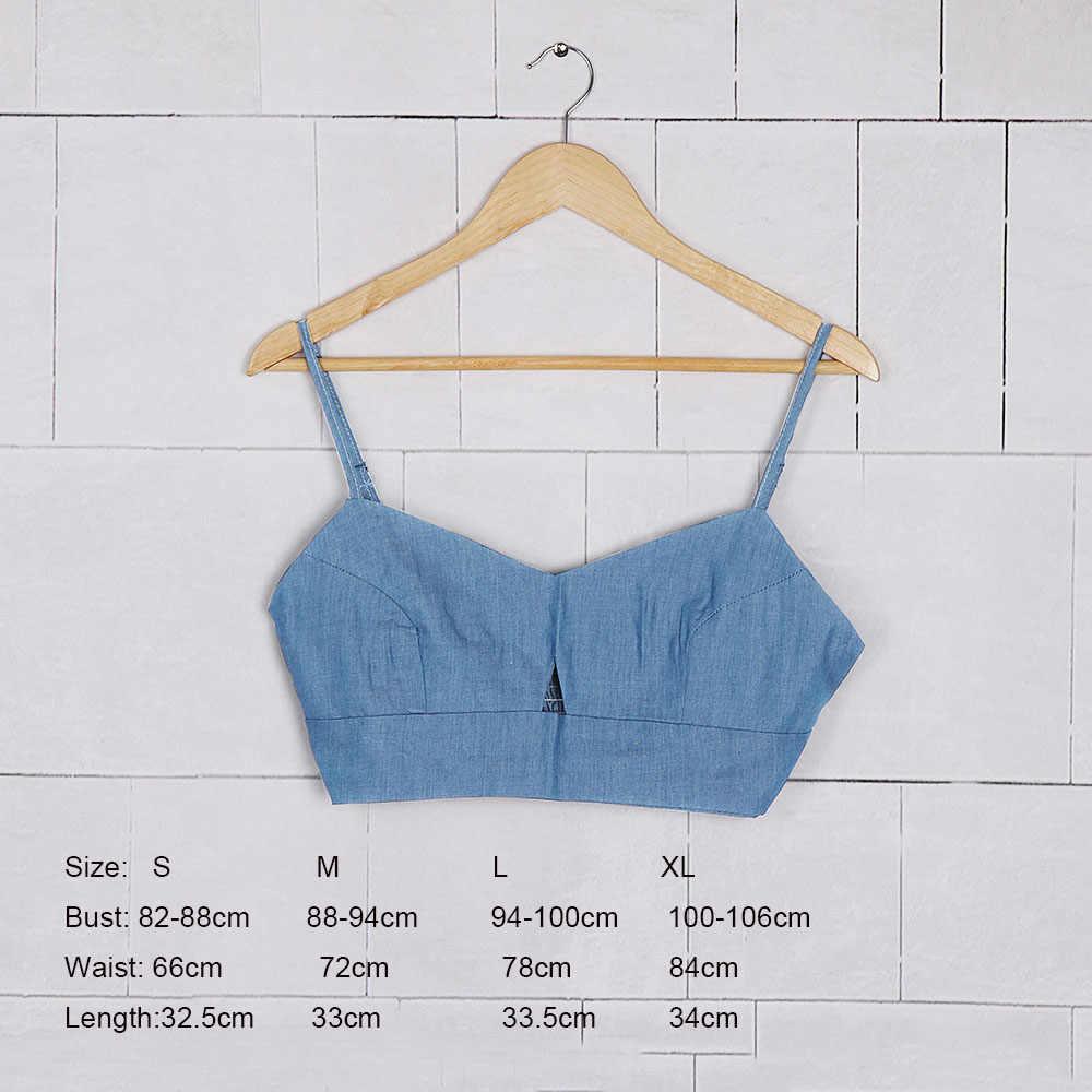 0201f060f2bb8 ... Women Sexy Blue Denim Camisole Summer Sleeveless Tank Tops T-Shirt  Strap Vest Crop Top