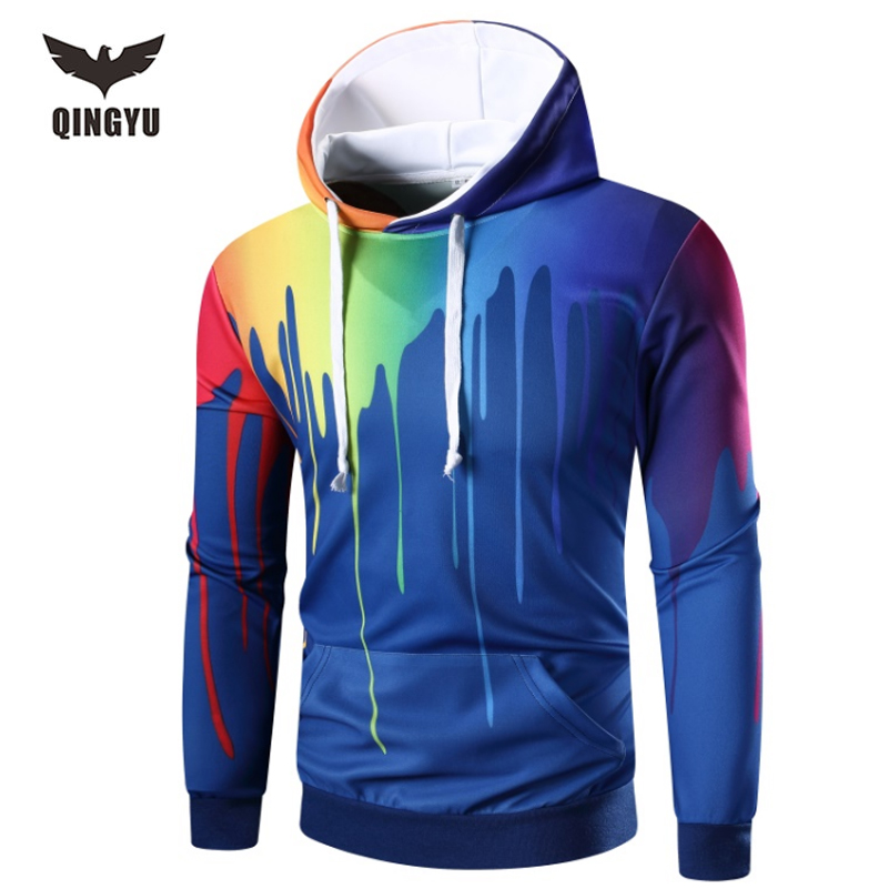 QINGYU Brand 2017 New Shipping Men's Space cotton Hoodies Sweatshirts Tee With Side Zip Longline Hip Hop Street HDYWA